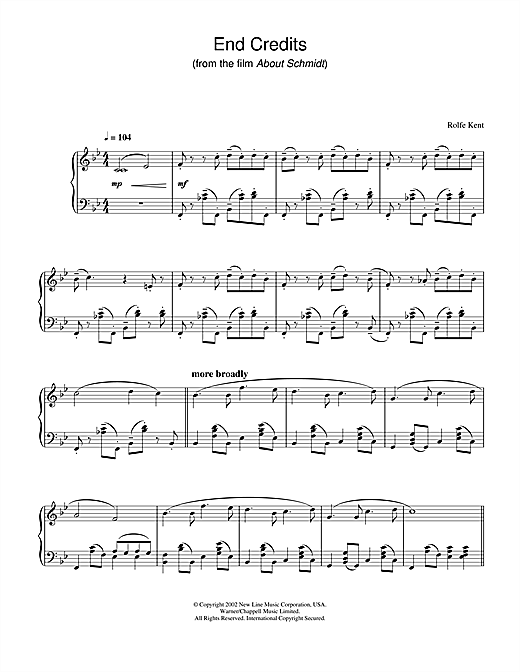 Rolfe Kent End Credits from About Schmidt sheet music notes and chords