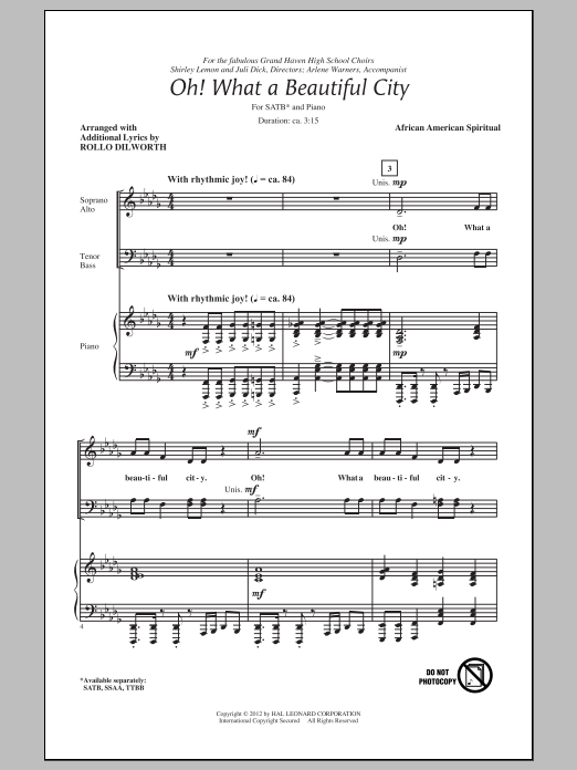 Rollo Dilworth Oh, What A Beautiful City sheet music preview music notes and score for SATB including 9 page(s)