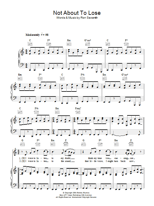 Ron Sexsmith Not About To Lose sheet music preview music notes and score for Piano, Vocal & Guitar including 5 page(s)