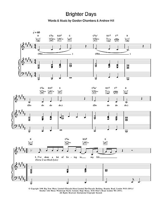 Ronan Keating Brighter Days sheet music notes and chords