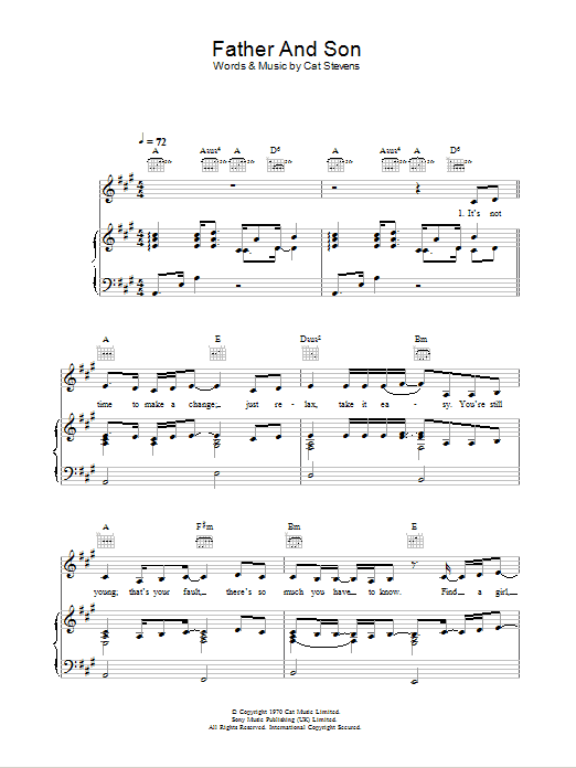 Ronan Keating Father And Son (feat. Yusuf) sheet music preview music notes and score for Piano, Vocal & Guitar (Right-Hand Melody) including 5 page(s)