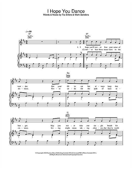 Ronan Keating I Hope You Dance sheet music notes and chords