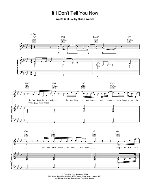 Ronan Keating If I Don't Tell You Now sheet music notes and chords