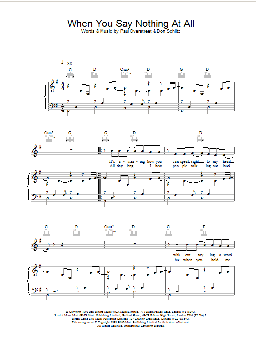 Ronan Keating When You Say Nothing At All sheet music preview music notes and score for Piano, Vocal & Guitar including 6 page(s)