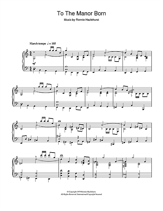 Download Ronnie Hazlehurst 'To The Manor Born' Digital Sheet Music Notes & Chords and start playing in minutes