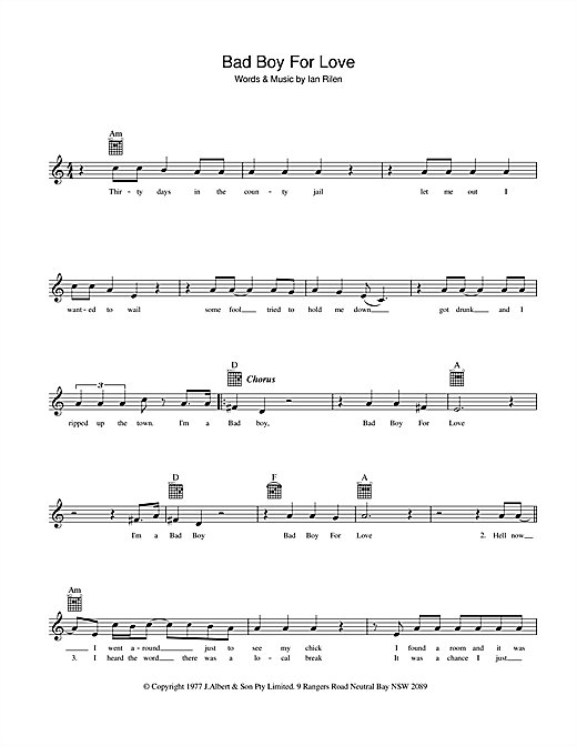 Rose Tattoo Bad Boy For Love sheet music preview music notes and score for Melody Line, Lyrics & Chords including 2 page(s)
