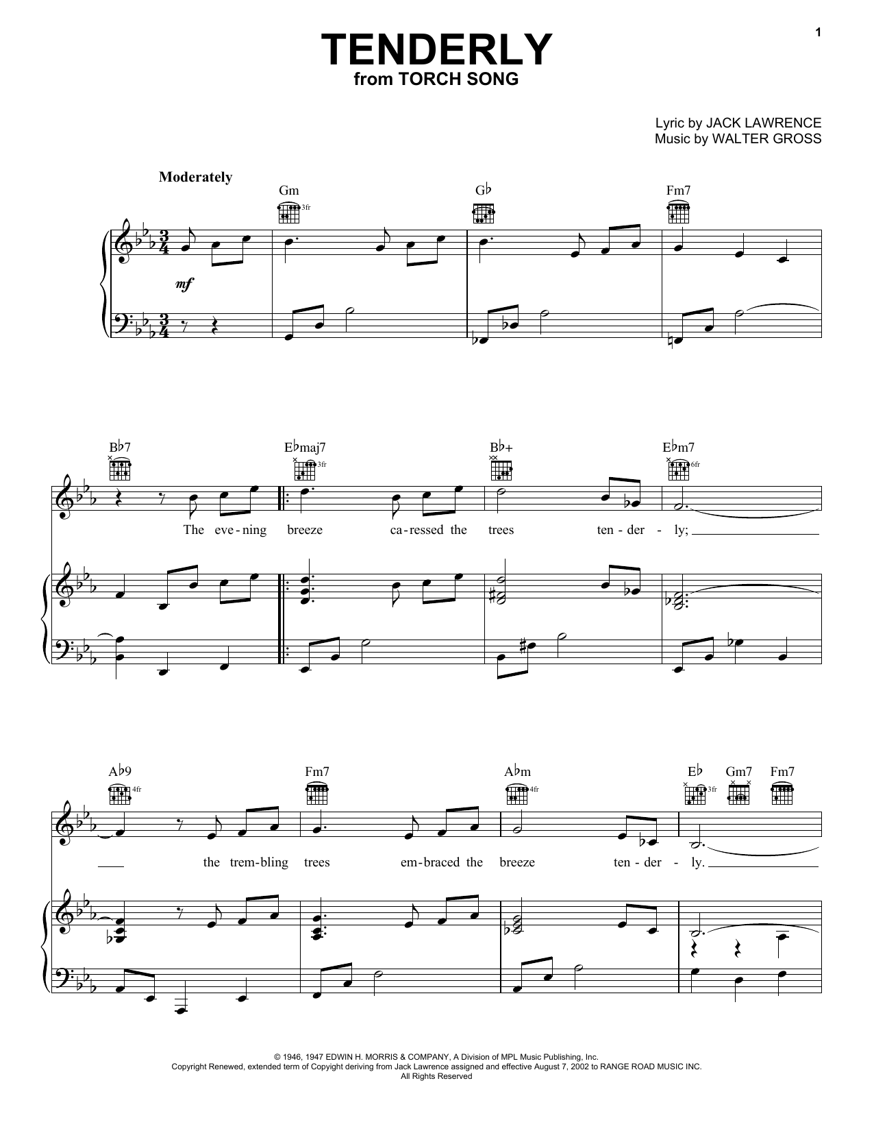 Rosemary Clooney Tenderly sheet music preview music notes and score for Piano, Vocal & Guitar (Right-Hand Melody) including 3 page(s)