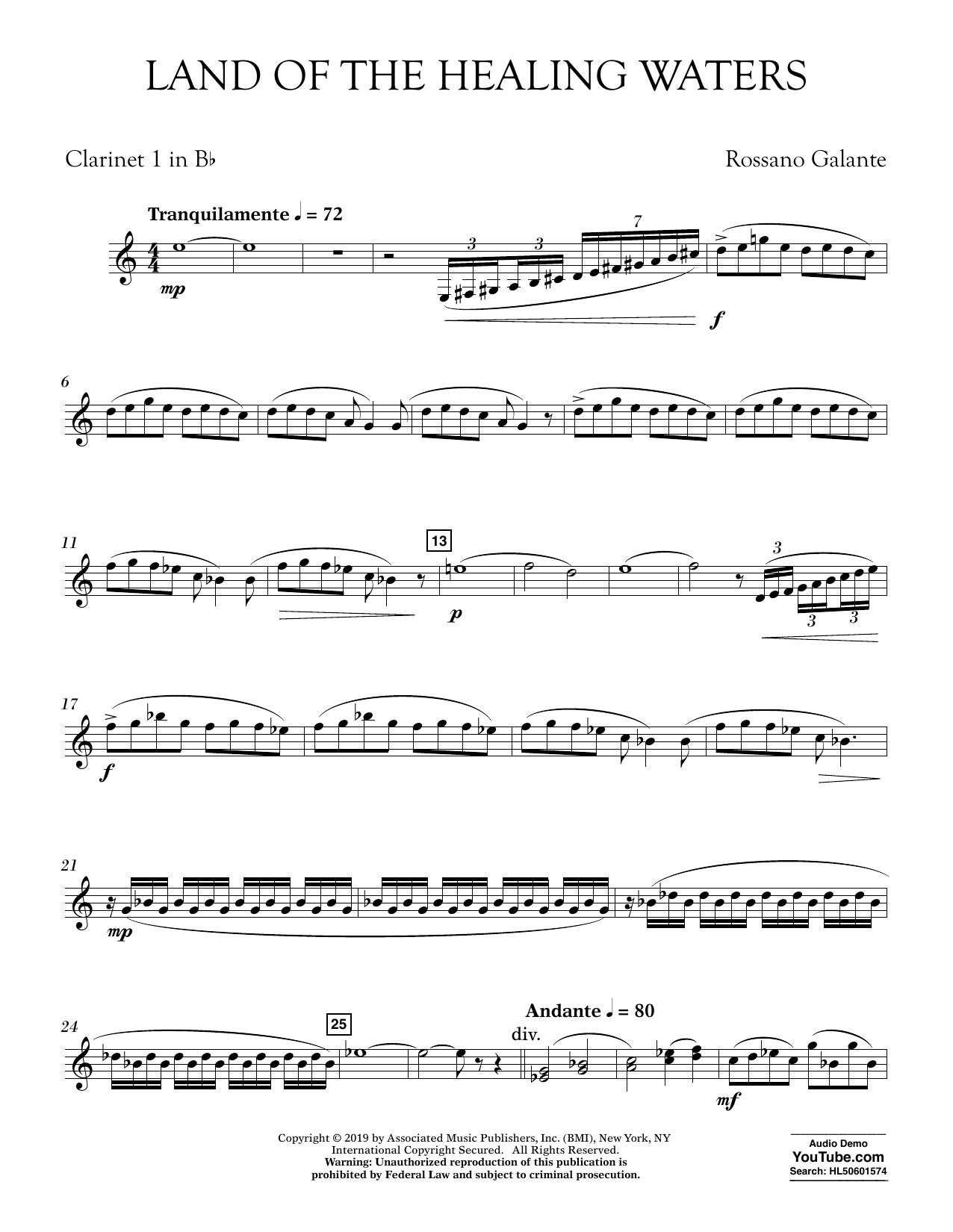 Rossano Galante Land of the Healing Waters - Bb Clarinet 1 sheet music preview music notes and score for Concert Band including 3 page(s)