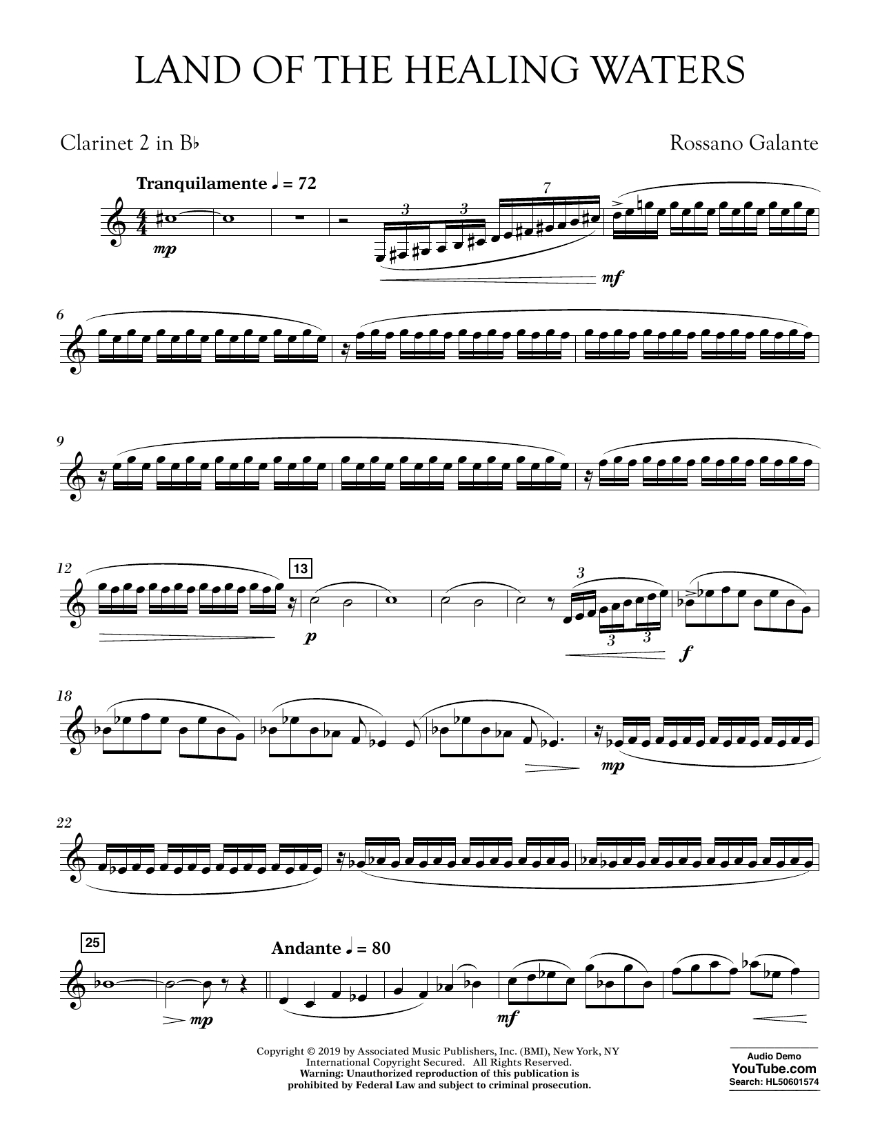 Rossano Galante Land of the Healing Waters - Bb Clarinet 2 sheet music preview music notes and score for Concert Band including 3 page(s)