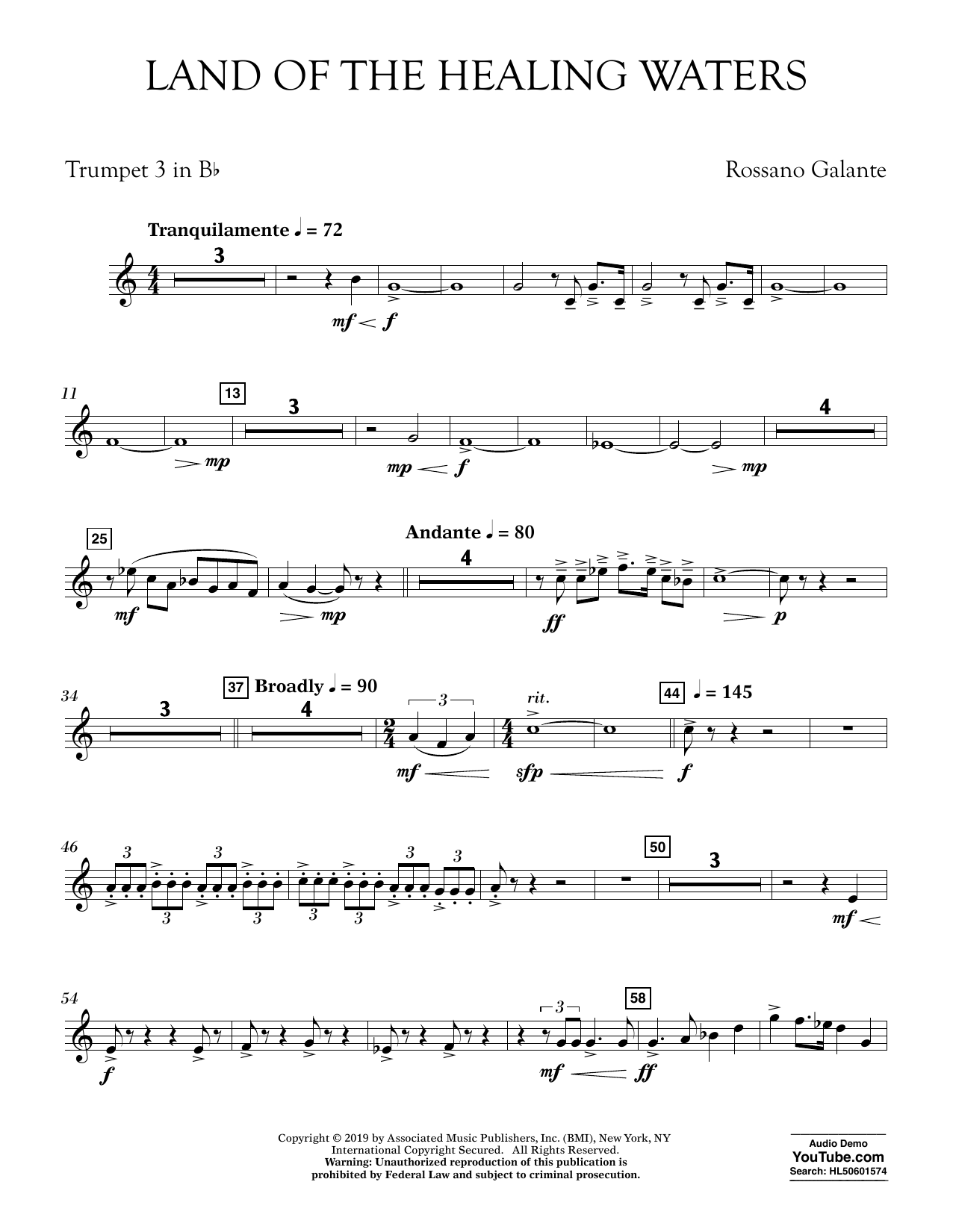 Rossano Galante Land of the Healing Waters - Bb Trumpet 3 sheet music preview music notes and score for Concert Band including 2 page(s)