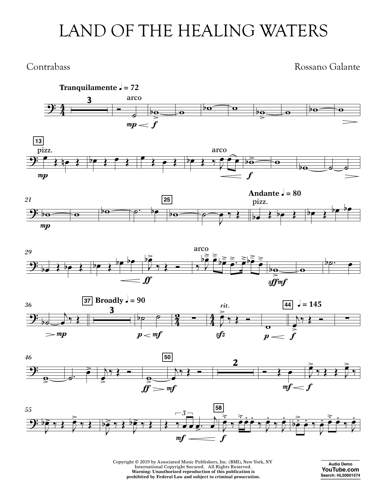 Rossano Galante Land of the Healing Waters - Contrabass sheet music preview music notes and score for Concert Band including 2 page(s)