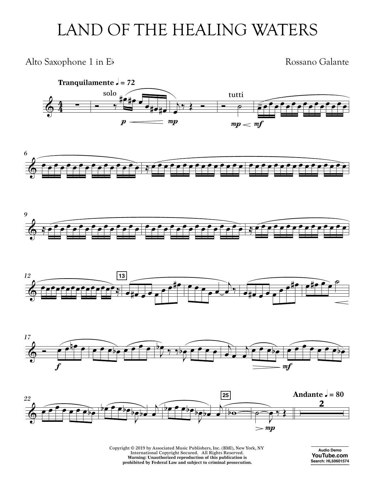 Rossano Galante Land of the Healing Waters - Eb Alto Saxophone 1 sheet music preview music notes and score for Concert Band including 3 page(s)