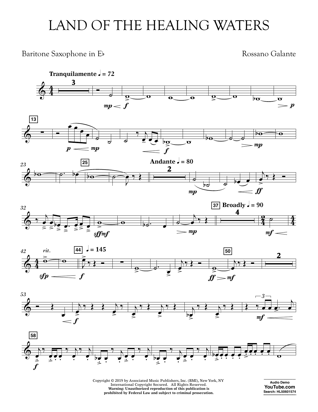 Rossano Galante Land of the Healing Waters - Eb Baritone Saxophone sheet music preview music notes and score for Concert Band including 2 page(s)