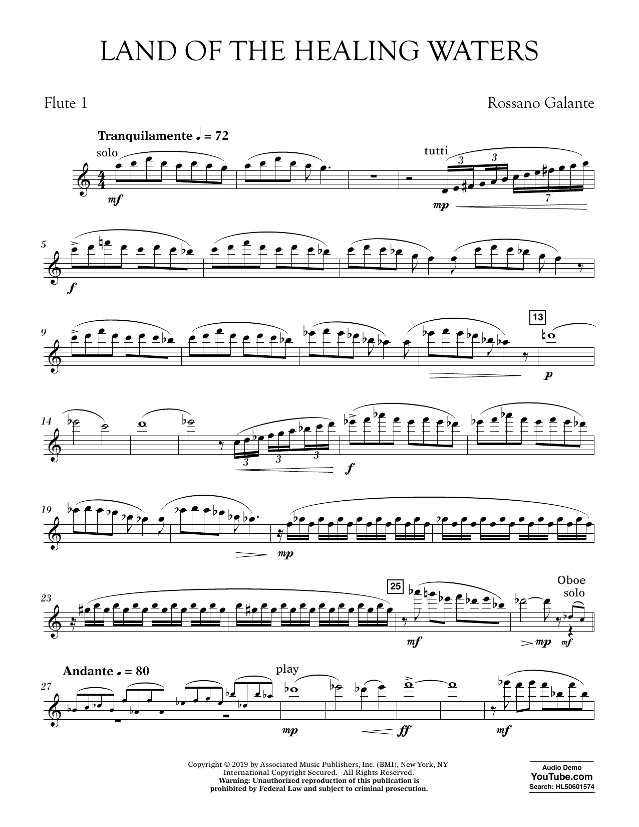 Rossano Galante Land of the Healing Waters - Flute 1 sheet music preview music notes and score for Concert Band including 3 page(s)
