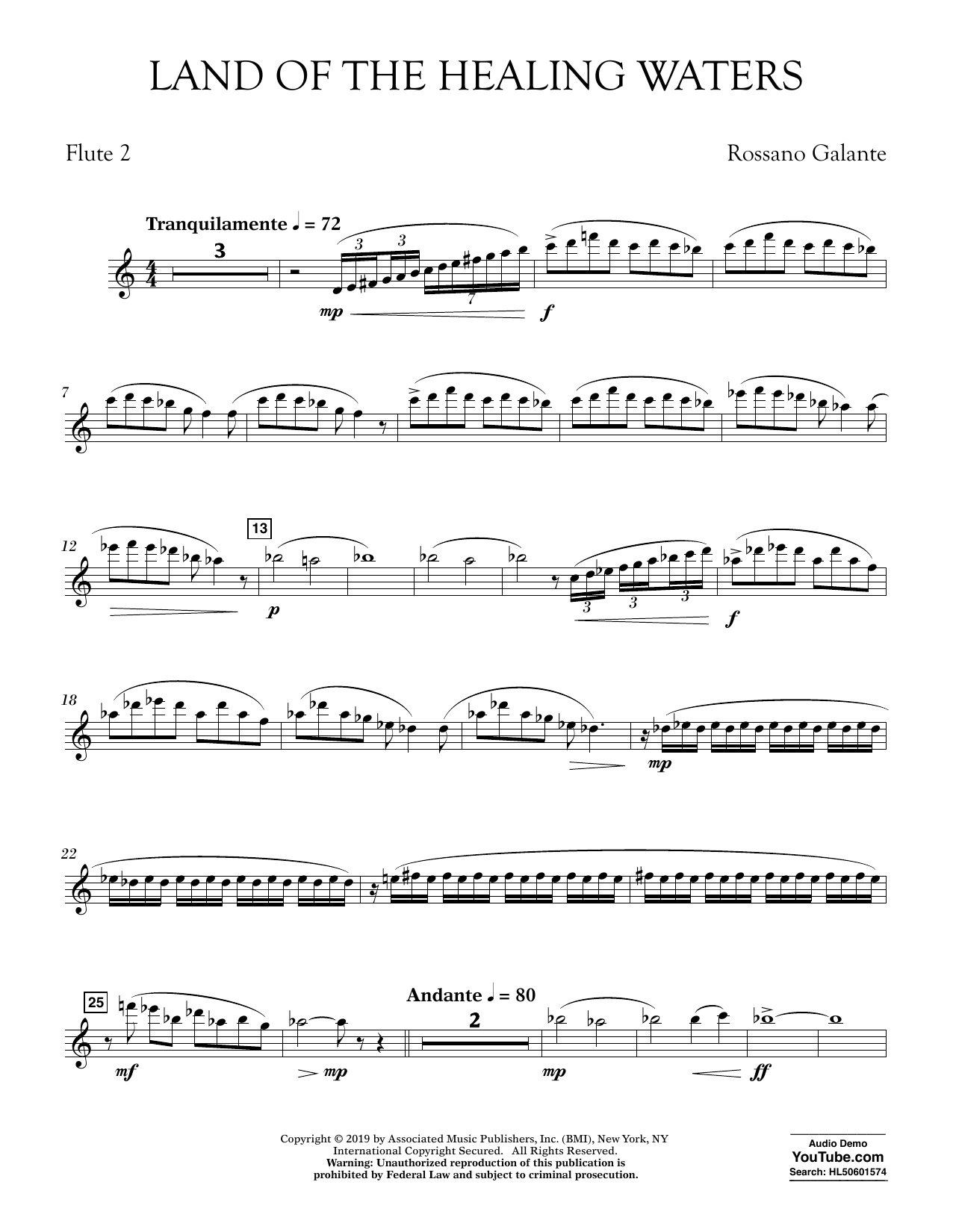 Rossano Galante Land of the Healing Waters - Flute 2 sheet music preview music notes and score for Concert Band including 3 page(s)