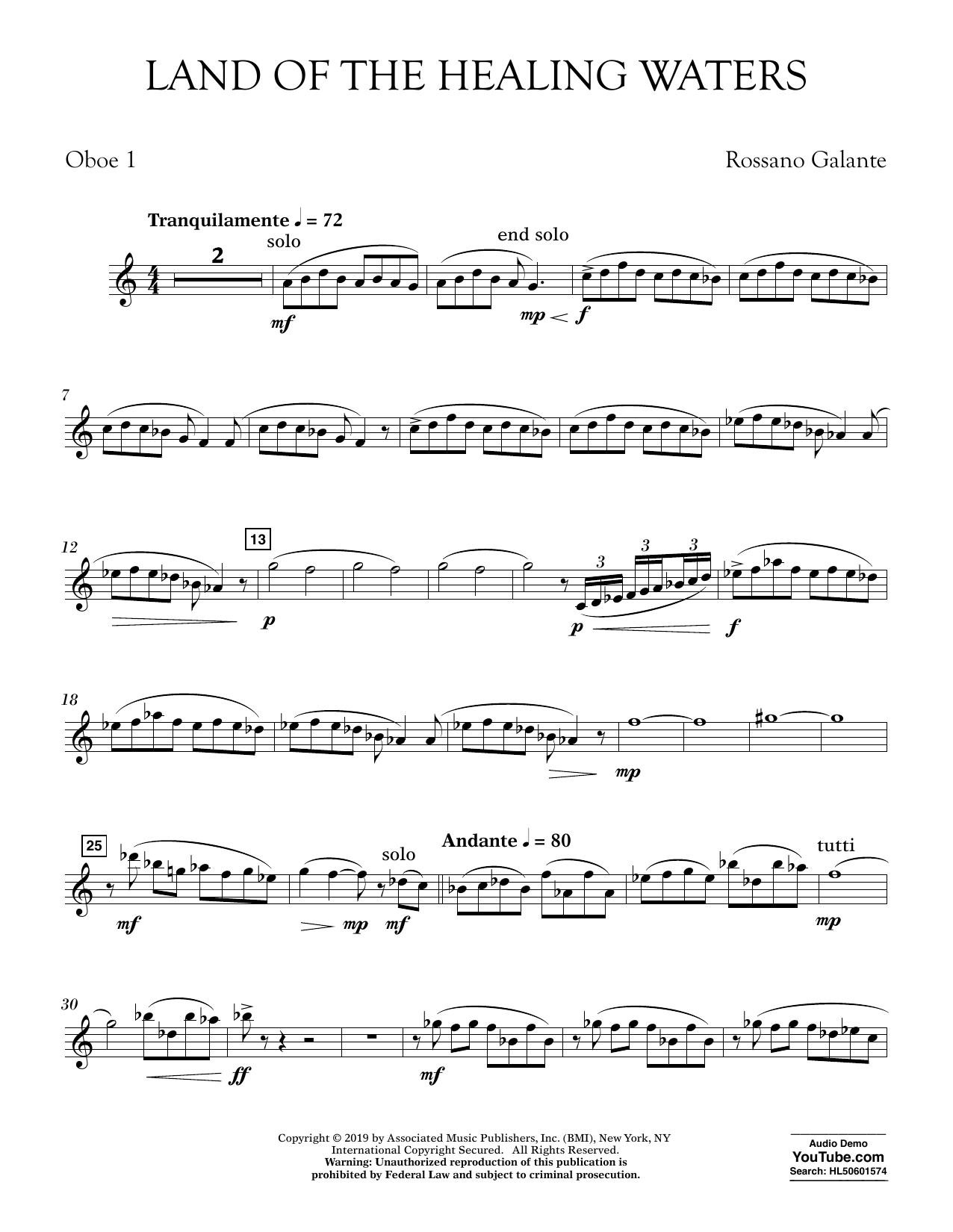 Rossano Galante Land of the Healing Waters - Oboe 1 sheet music preview music notes and score for Concert Band including 3 page(s)