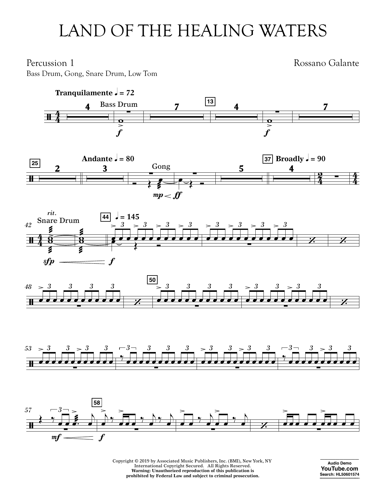 Rossano Galante Land of the Healing Waters - Percussion 1 sheet music preview music notes and score for Concert Band including 2 page(s)