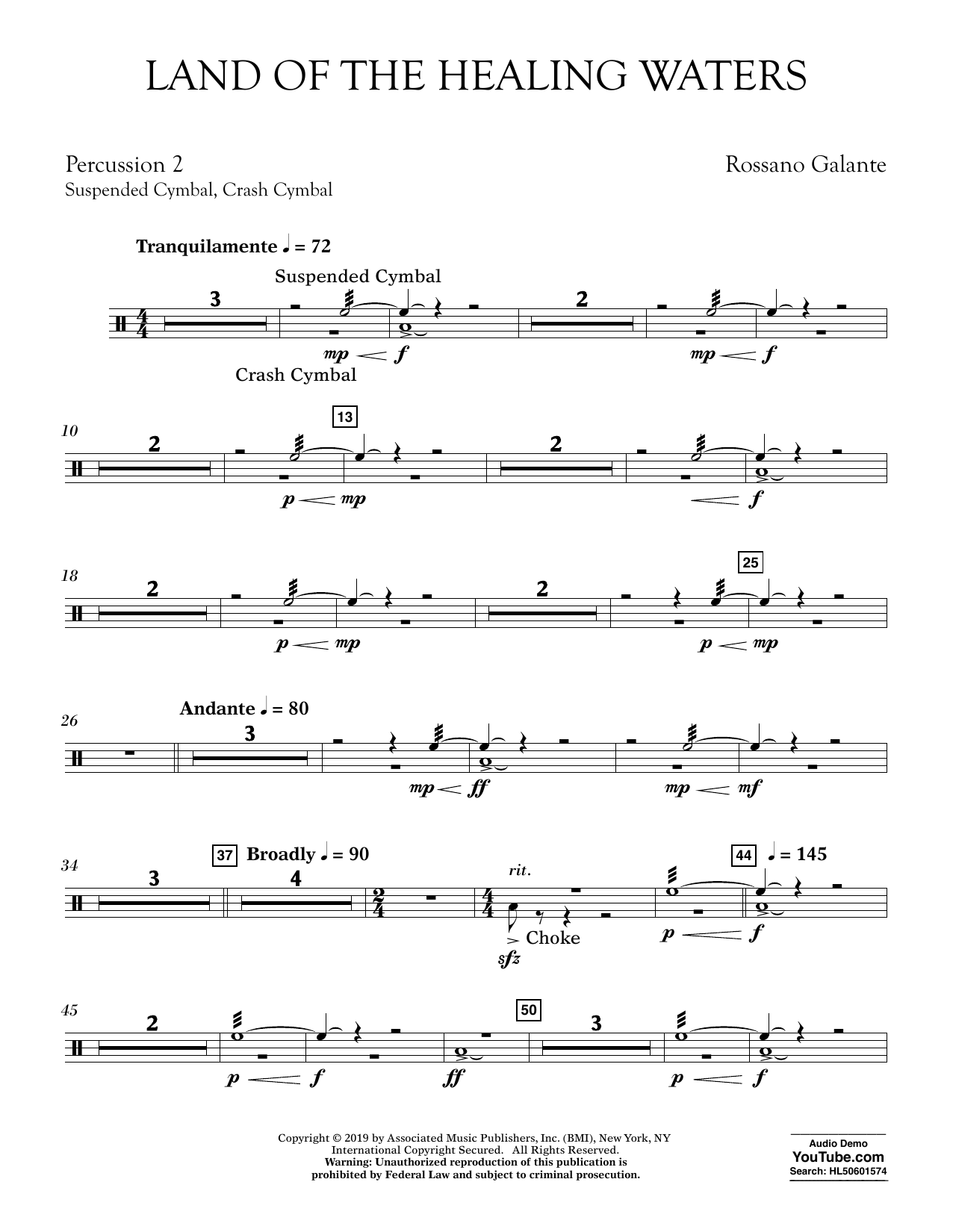 Rossano Galante Land of the Healing Waters - Percussion 2 sheet music preview music notes and score for Concert Band including 2 page(s)