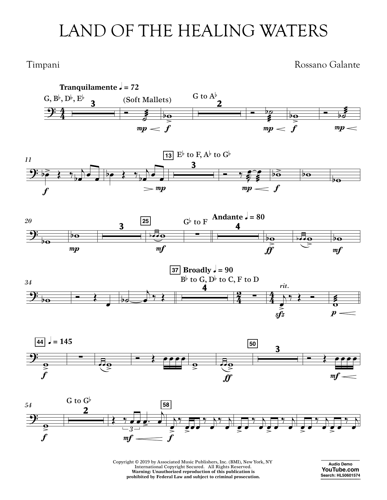 Rossano Galante Land of the Healing Waters - Timpani sheet music preview music notes and score for Concert Band including 2 page(s)