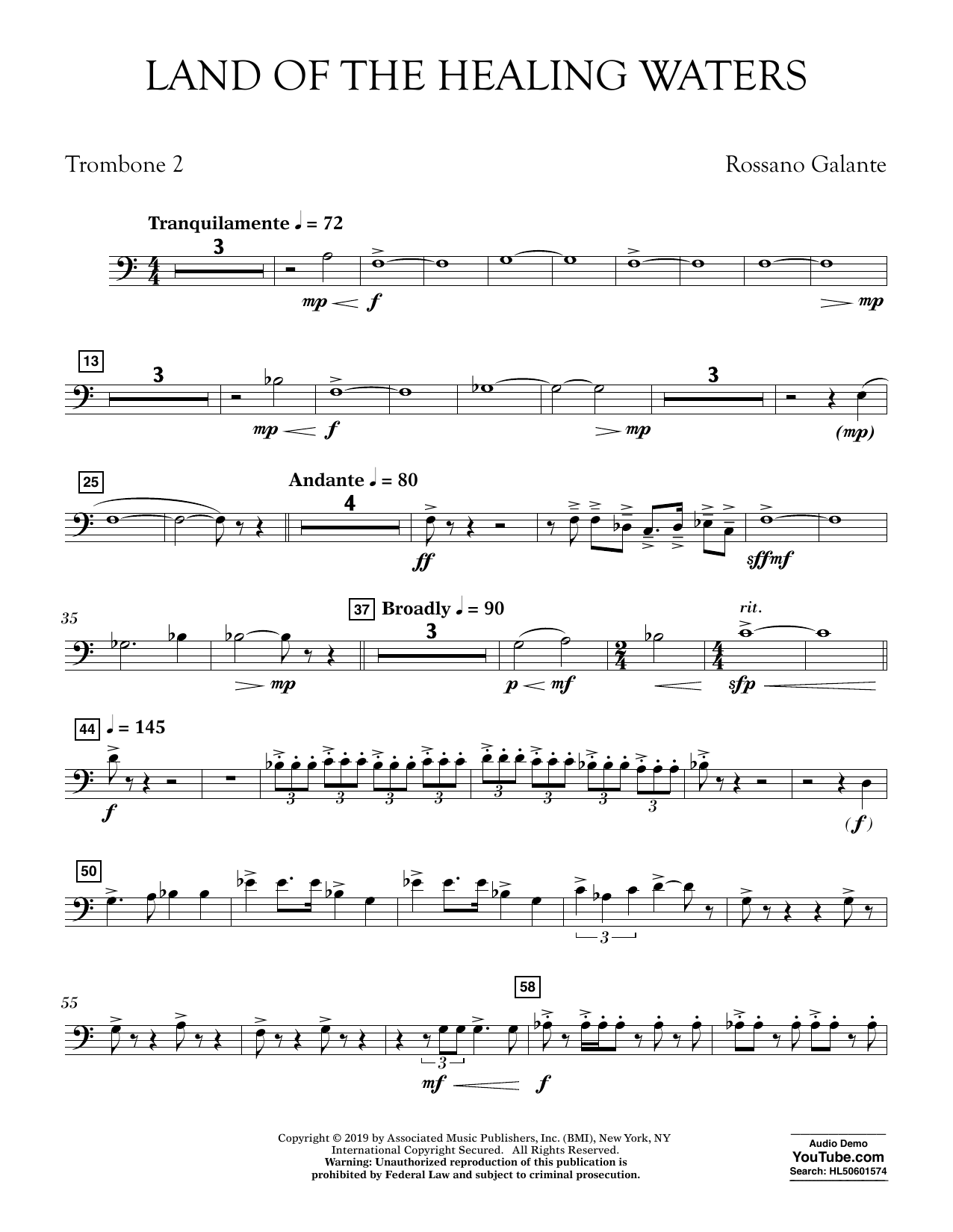 Rossano Galante Land of the Healing Waters - Trombone 2 sheet music preview music notes and score for Concert Band including 2 page(s)