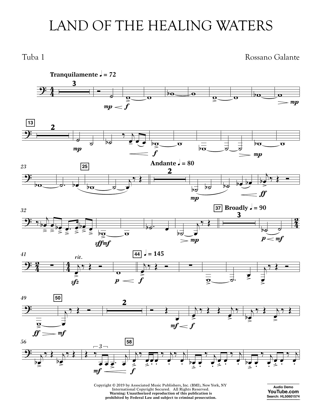 Rossano Galante Land of the Healing Waters - Tuba 1 sheet music preview music notes and score for Concert Band including 2 page(s)