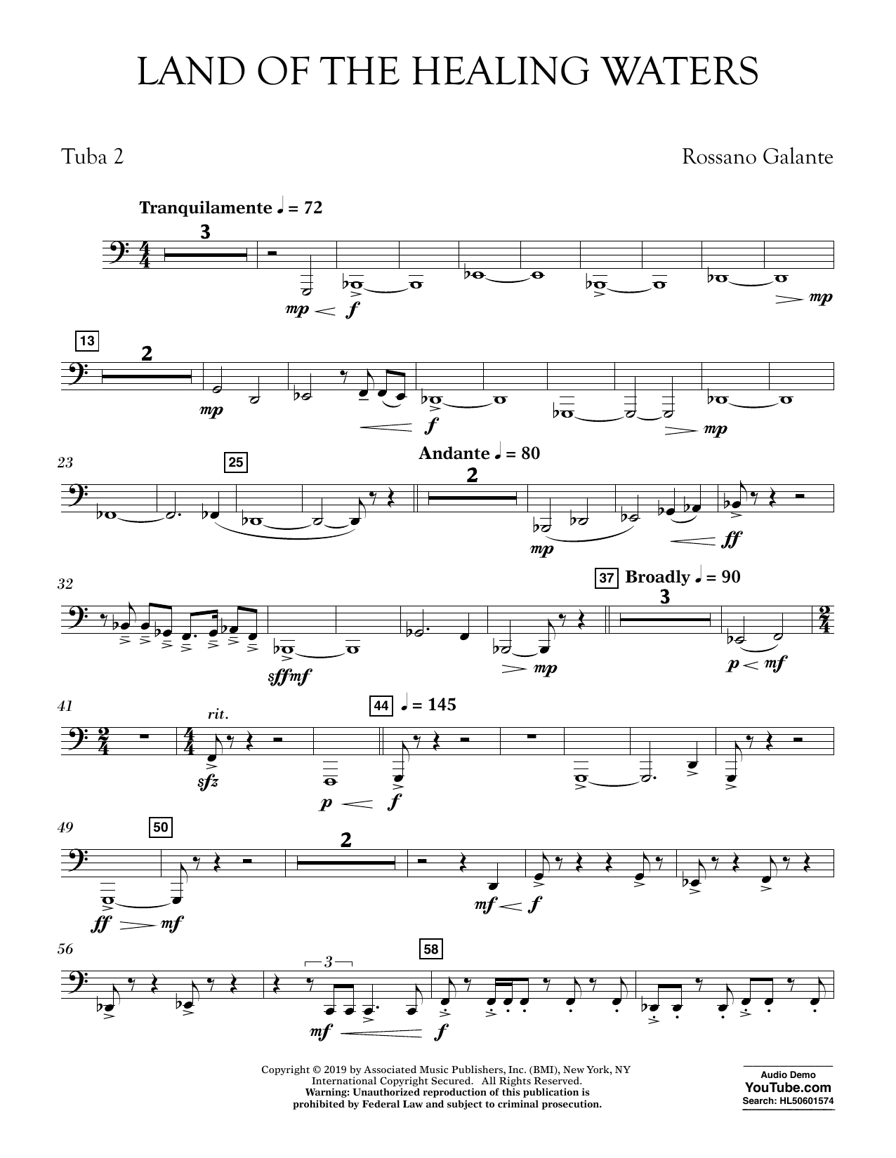 Rossano Galante Land of the Healing Waters - Tuba 2 sheet music preview music notes and score for Concert Band including 2 page(s)