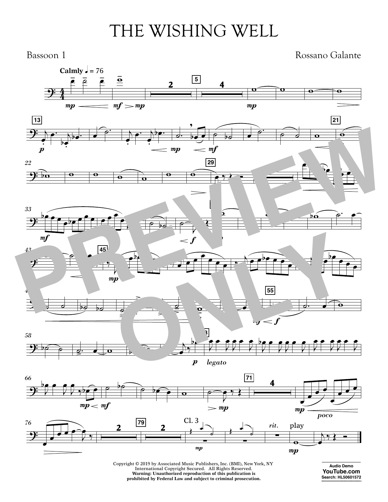 Rossano Galante The Wishing Well - Bassoon 1 sheet music preview music notes and score for Concert Band including 1 page(s)