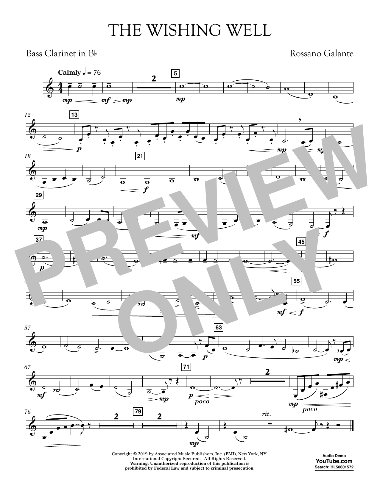 Rossano Galante The Wishing Well - Bb Bass Clarinet sheet music preview music notes and score for Concert Band including 1 page(s)