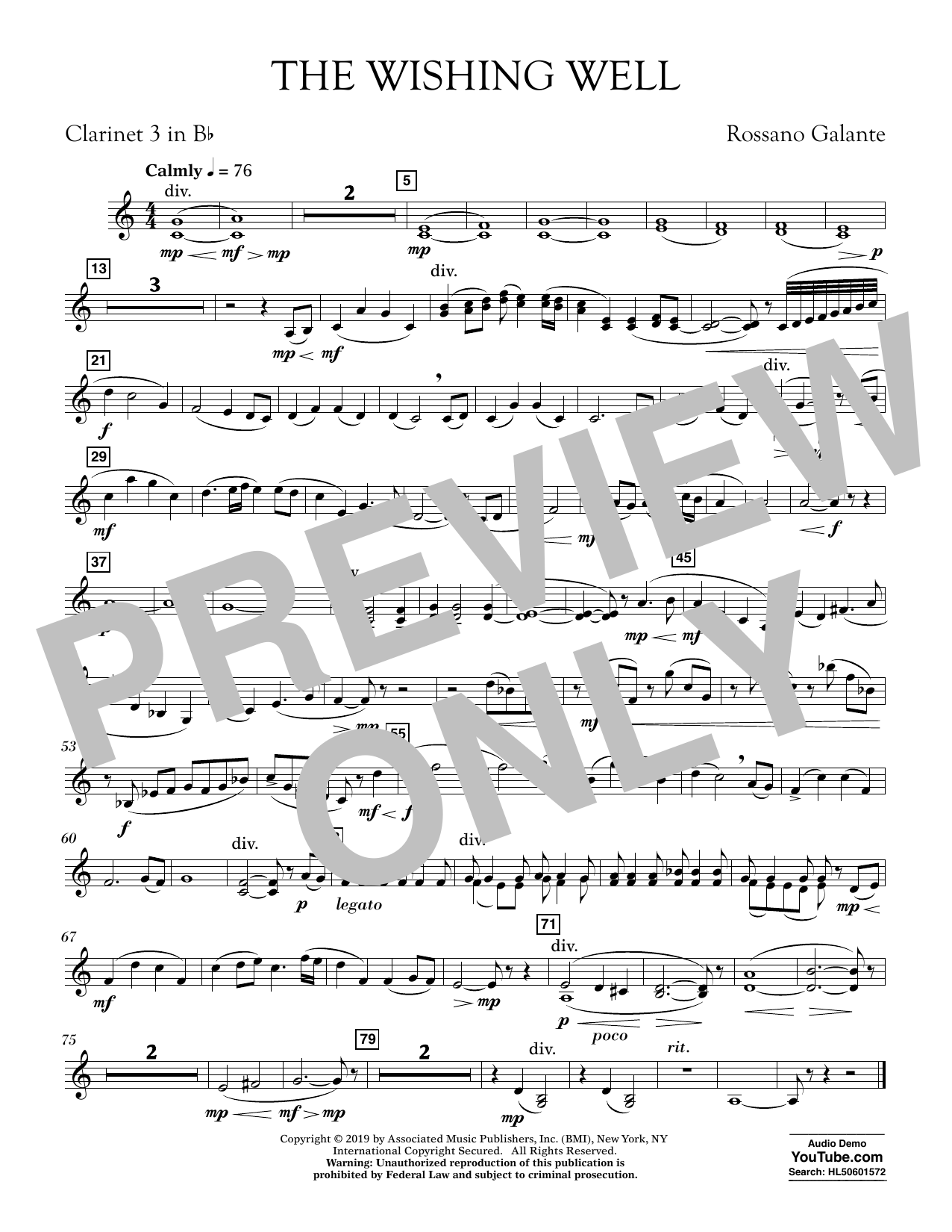 Rossano Galante The Wishing Well - Bb Clarinet 3 sheet music preview music notes and score for Concert Band including 1 page(s)
