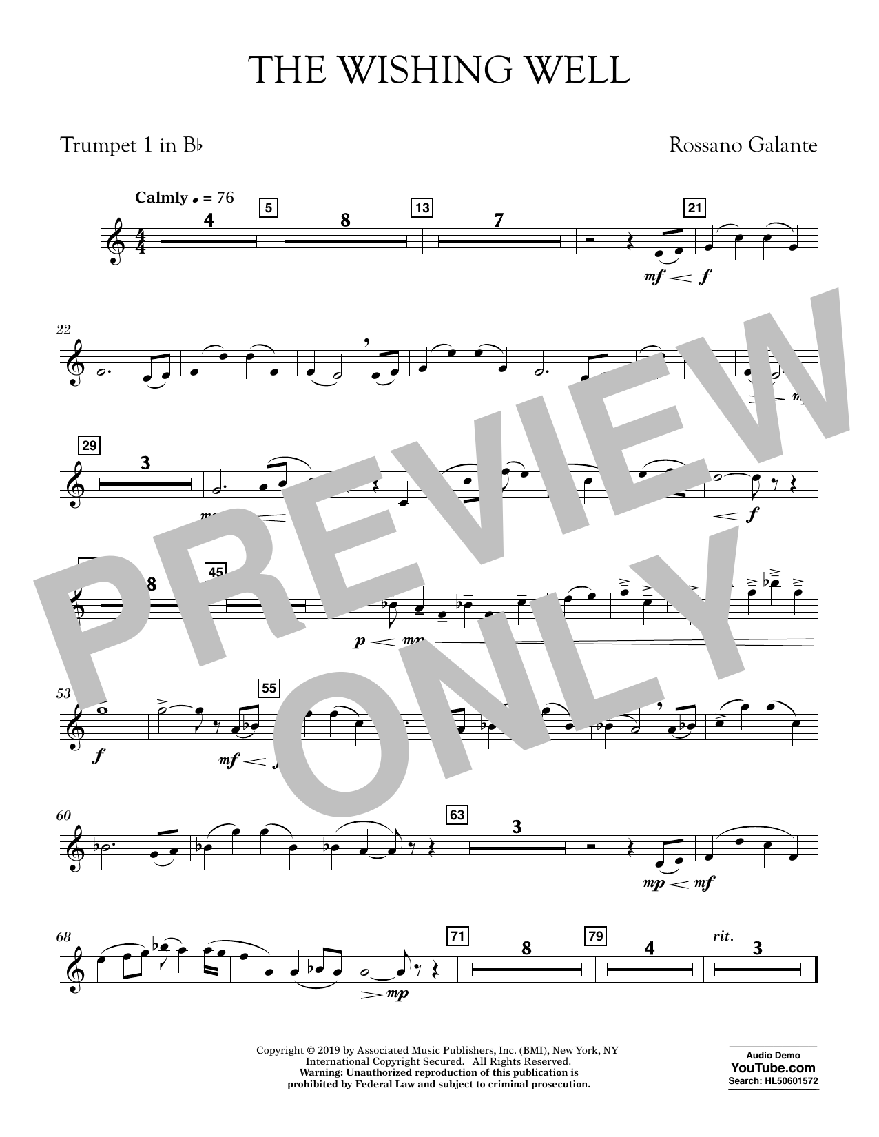 Rossano Galante The Wishing Well - Bb Trumpet 1 sheet music preview music notes and score for Concert Band including 1 page(s)