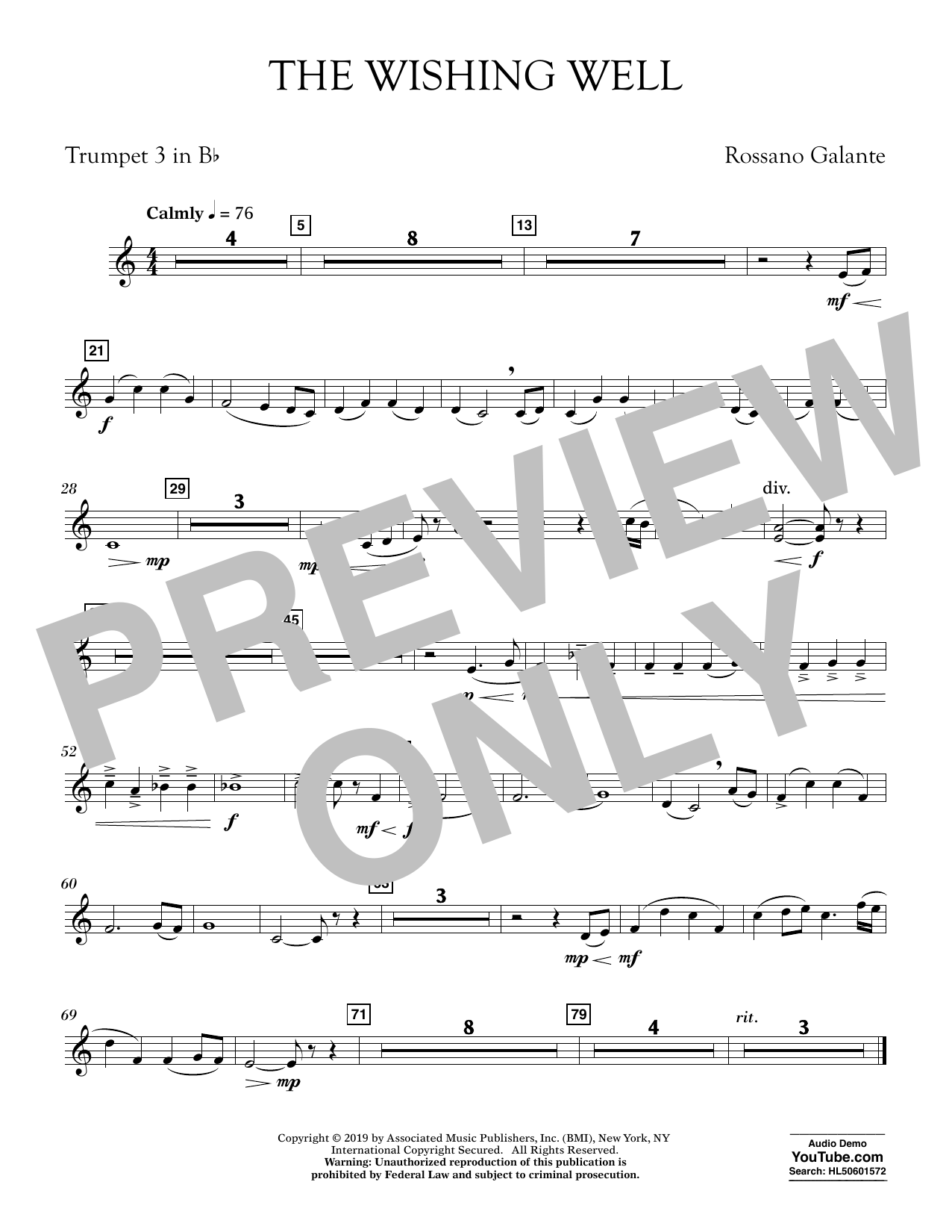 Rossano Galante The Wishing Well - Bb Trumpet 3 sheet music preview music notes and score for Concert Band including 1 page(s)