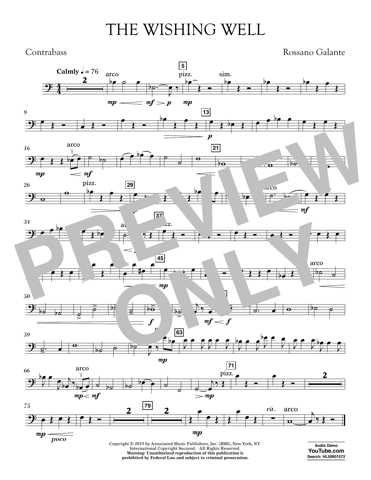 Rossano Galante The Wishing Well - Contrabass sheet music preview music notes and score for Concert Band including 1 page(s)