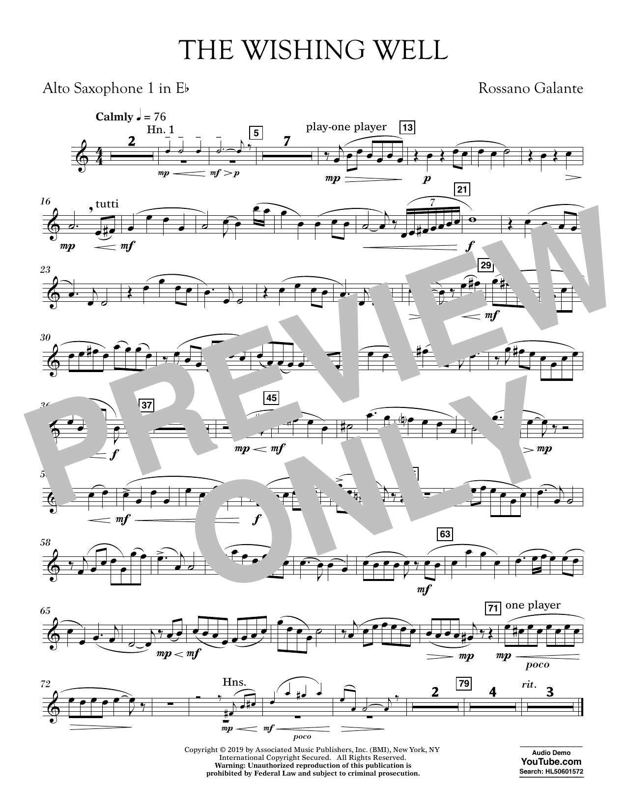 Rossano Galante The Wishing Well - Eb Alto Saxophone 1 sheet music preview music notes and score for Concert Band including 1 page(s)