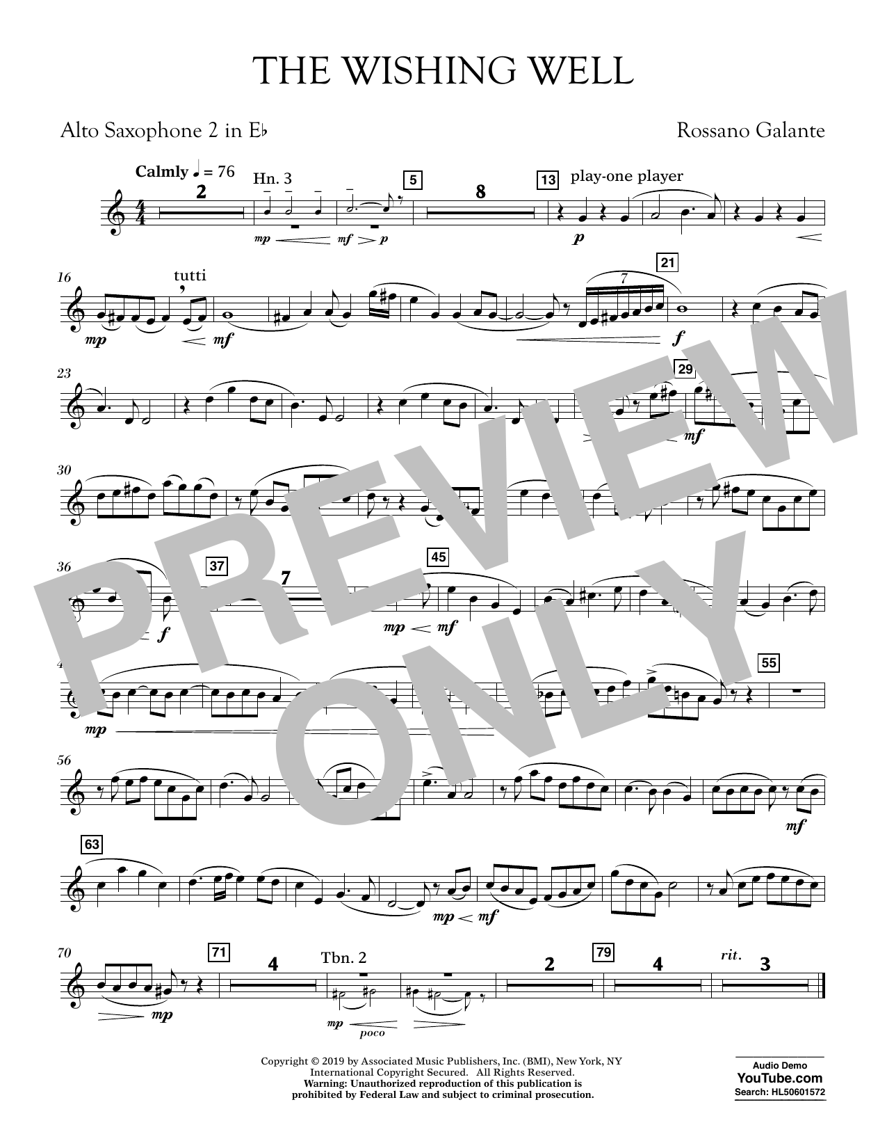 Rossano Galante The Wishing Well - Eb Alto Saxophone 2 sheet music preview music notes and score for Concert Band including 1 page(s)
