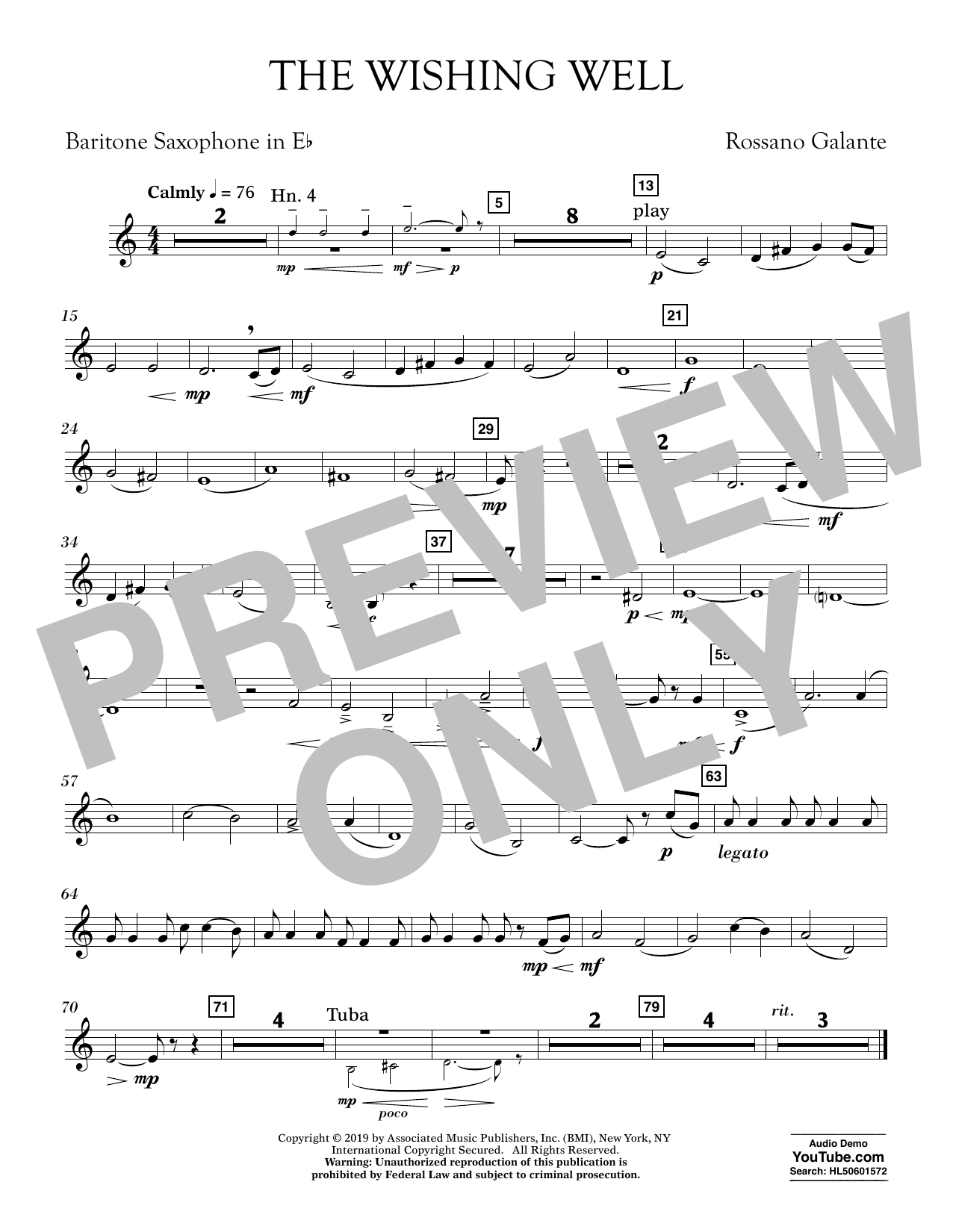 Rossano Galante The Wishing Well - Eb Baritone Saxophone sheet music preview music notes and score for Concert Band including 1 page(s)