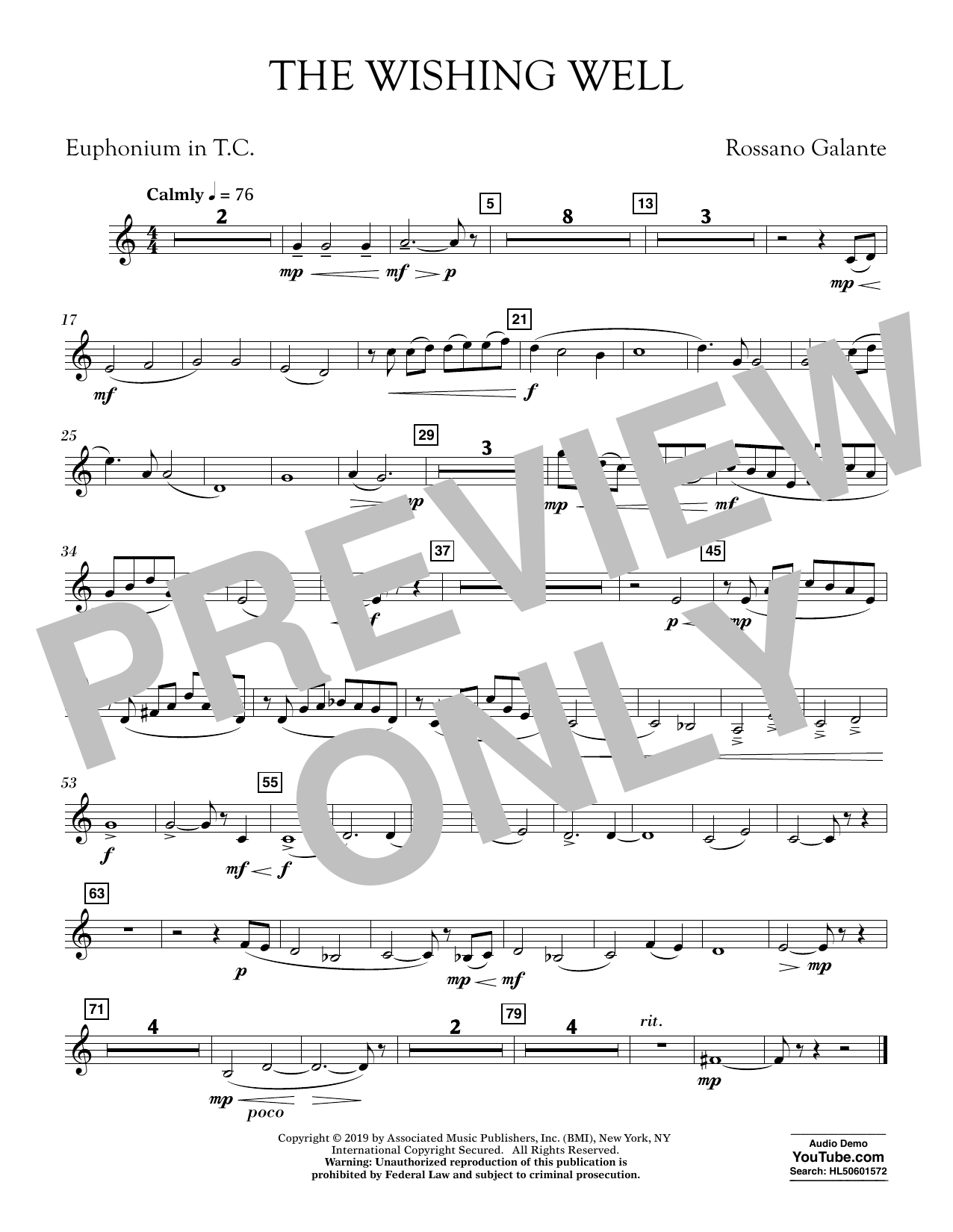 Rossano Galante The Wishing Well - Euphonium in Treble Clef sheet music preview music notes and score for Concert Band including 1 page(s)