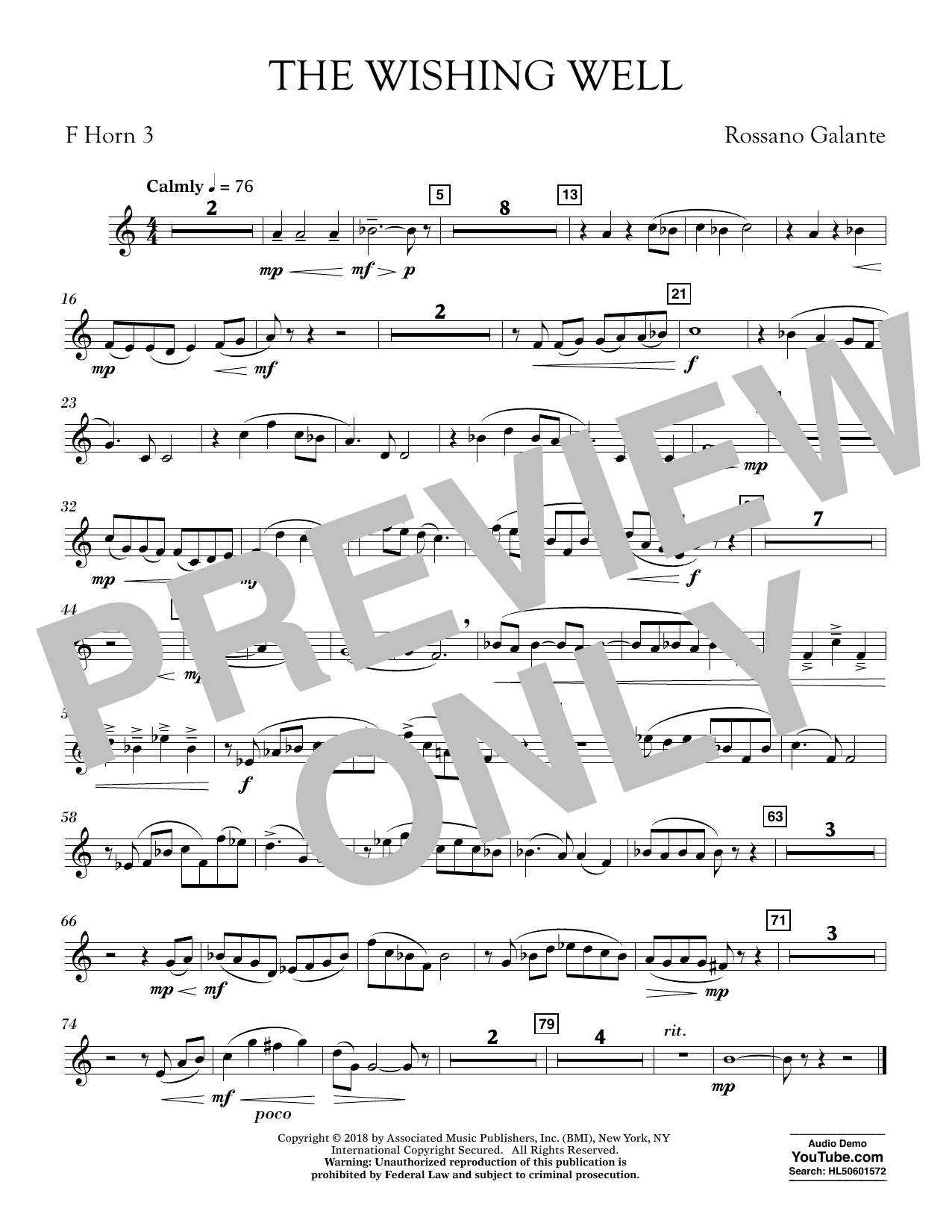 Rossano Galante The Wishing Well - F Horn 3 sheet music preview music notes and score for Concert Band including 1 page(s)