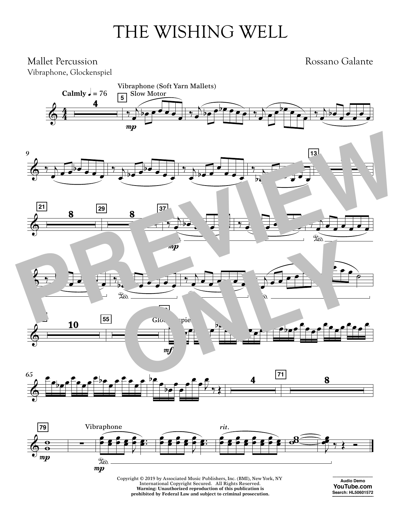 Rossano Galante The Wishing Well - Mallet Percussion sheet music preview music notes and score for Concert Band including 1 page(s)