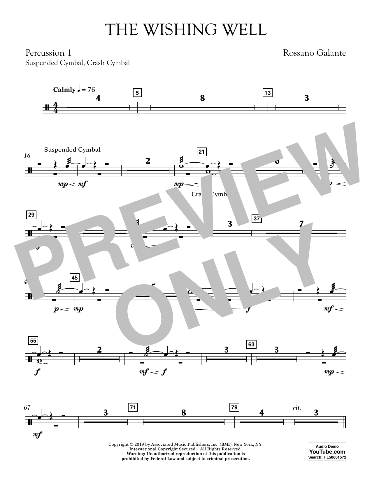 Rossano Galante The Wishing Well - Percussion 1 sheet music preview music notes and score for Concert Band including 1 page(s)