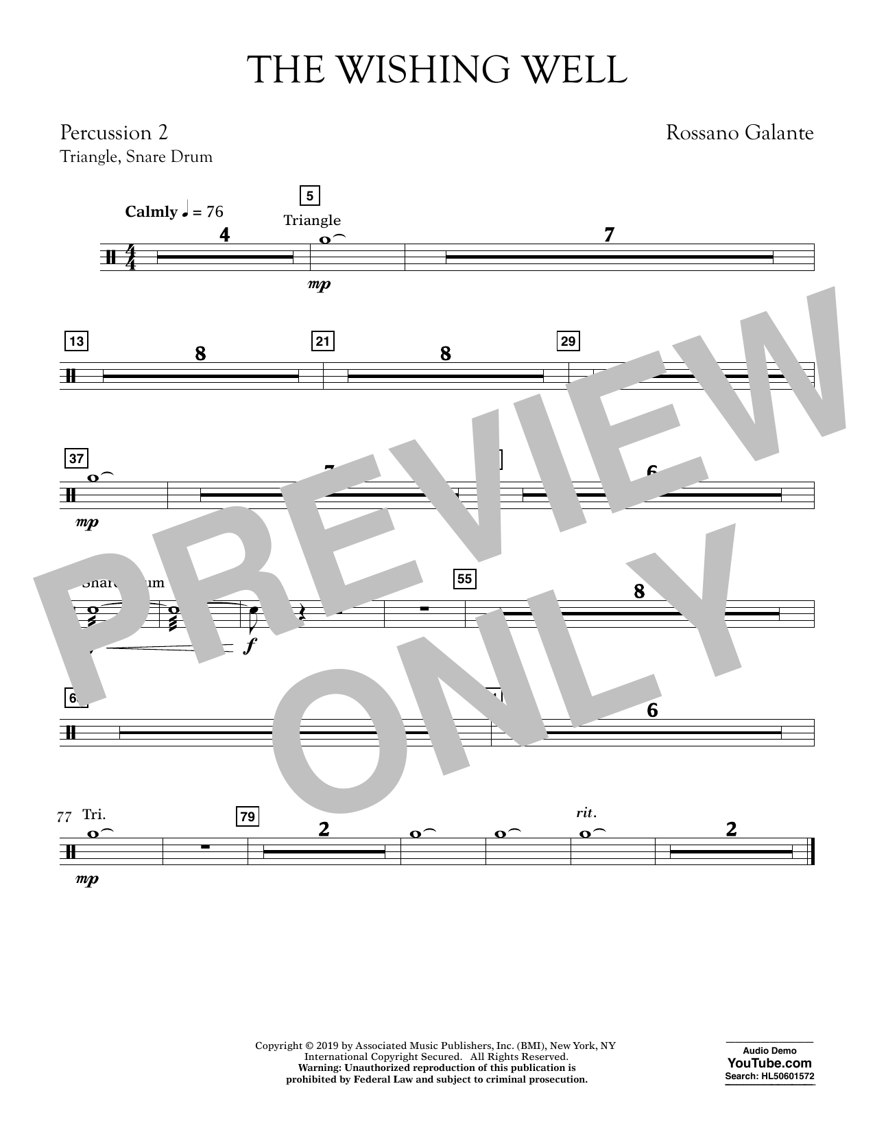 Rossano Galante The Wishing Well - Percussion 2 sheet music preview music notes and score for Concert Band including 1 page(s)