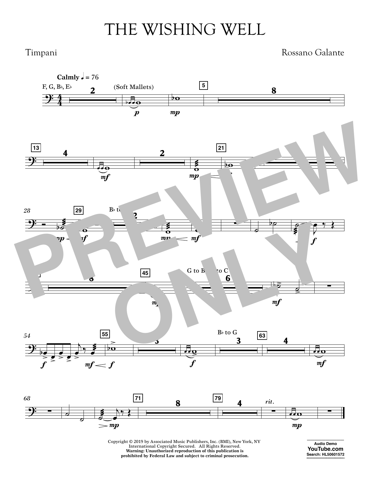 Rossano Galante The Wishing Well - Timpani sheet music preview music notes and score for Concert Band including 1 page(s)