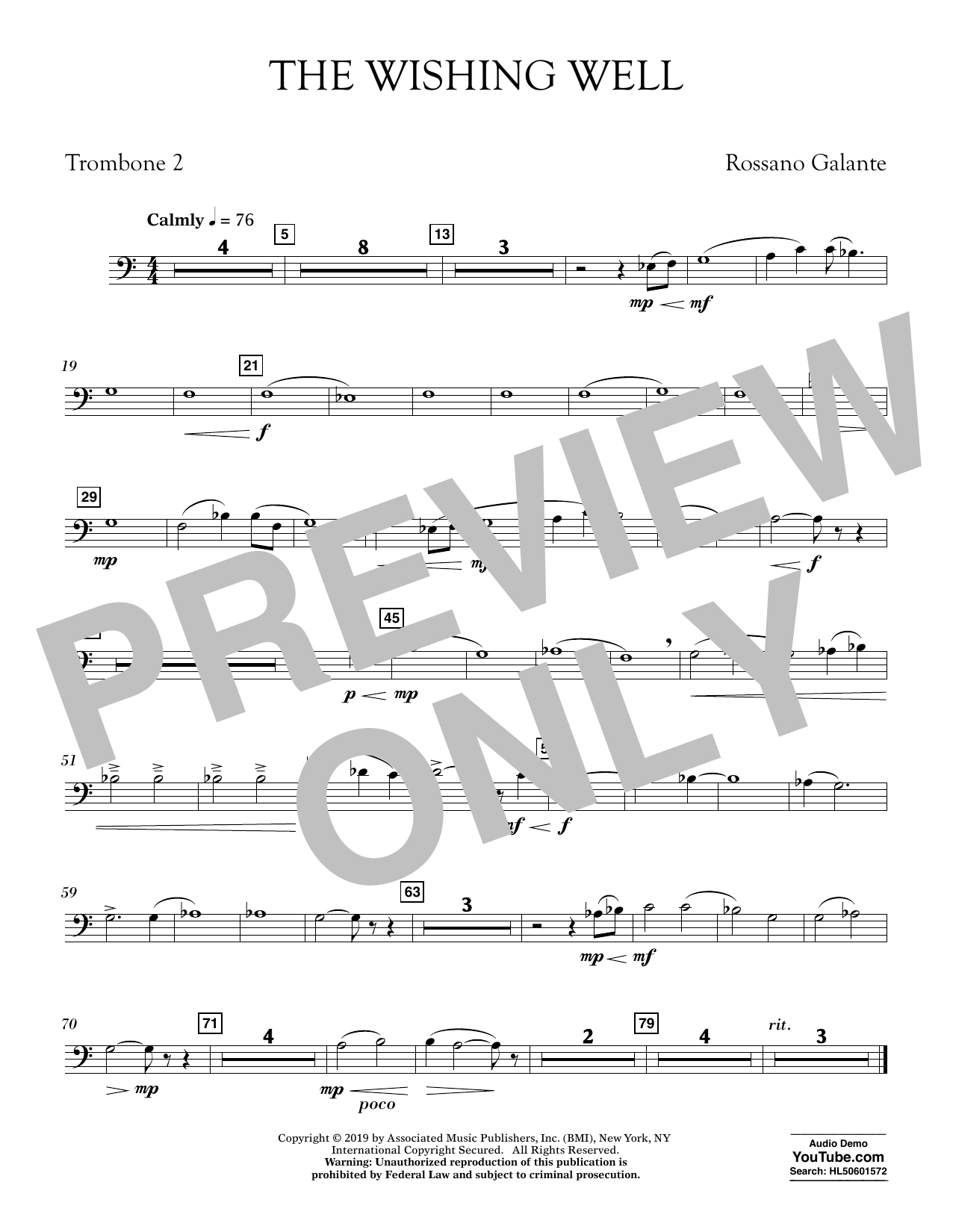 Rossano Galante The Wishing Well - Trombone 2 sheet music preview music notes and score for Concert Band including 1 page(s)