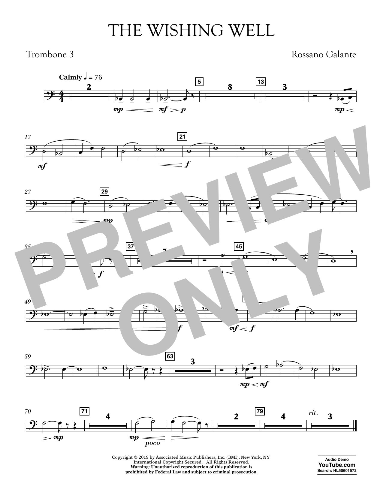 Rossano Galante The Wishing Well - Trombone 3 sheet music preview music notes and score for Concert Band including 1 page(s)