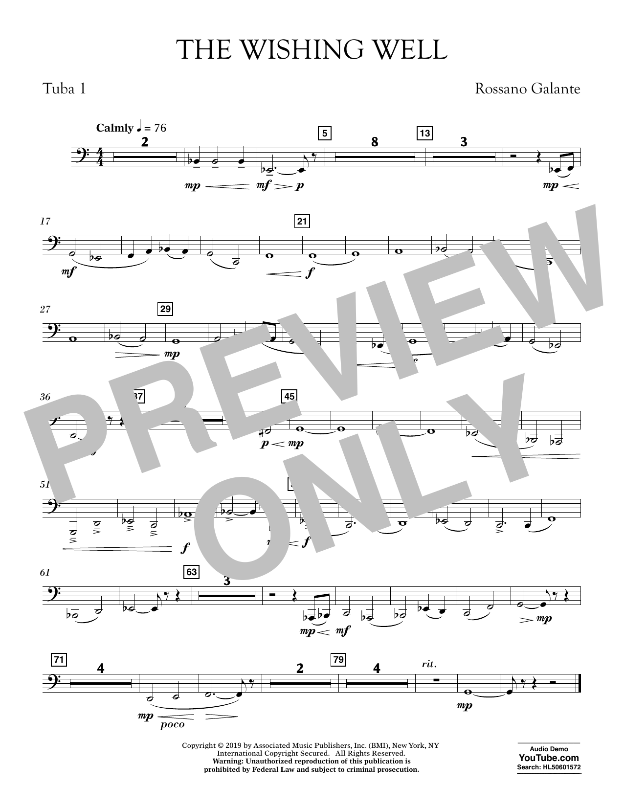 Rossano Galante The Wishing Well - Tuba 1 sheet music preview music notes and score for Concert Band including 1 page(s)