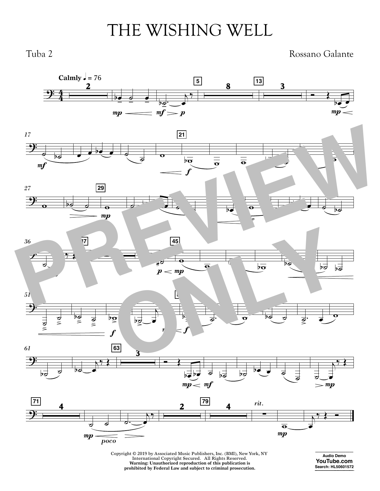 Rossano Galante The Wishing Well - Tuba 2 sheet music preview music notes and score for Concert Band including 1 page(s)