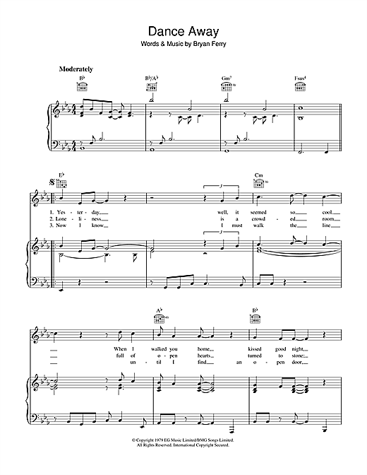 Roxy Music Dance Away sheet music notes and chords