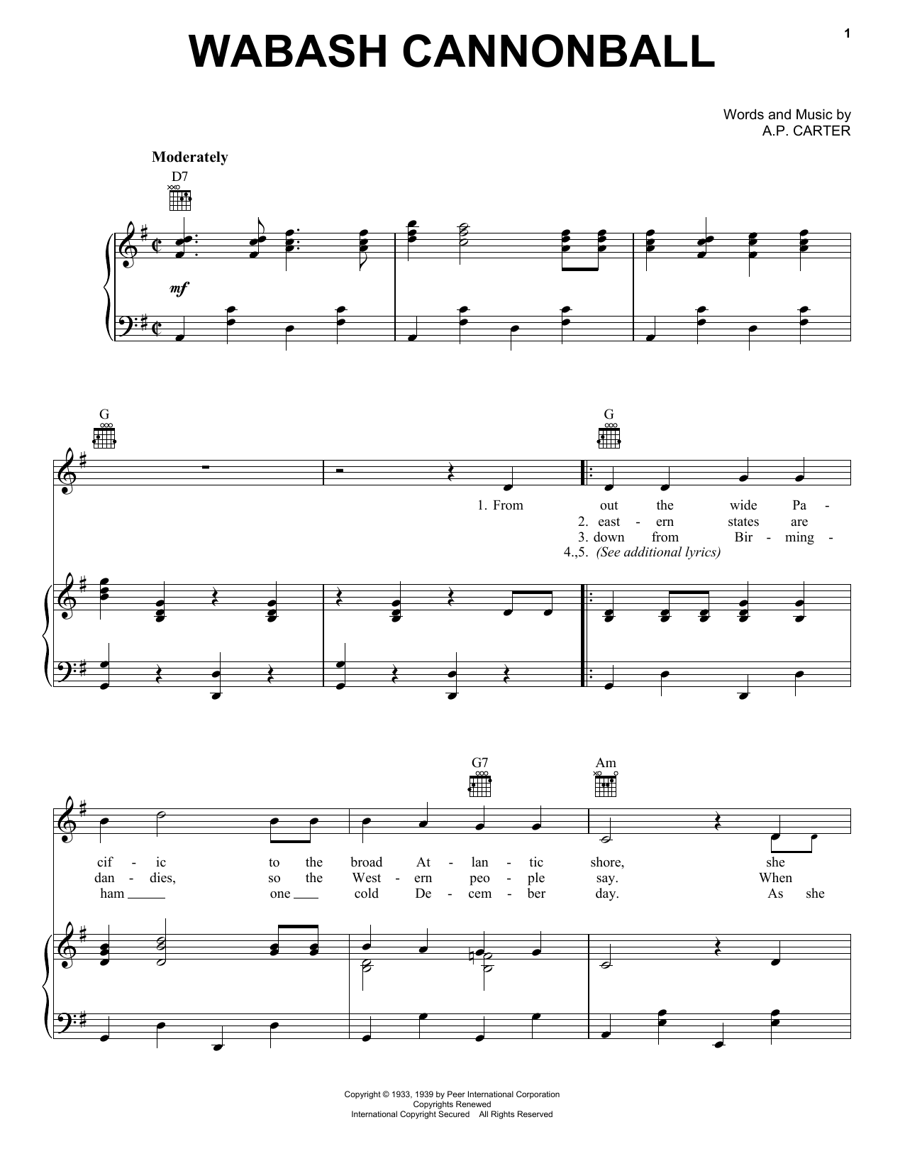 Roy Acuff Wabash Cannonball sheet music notes and chords