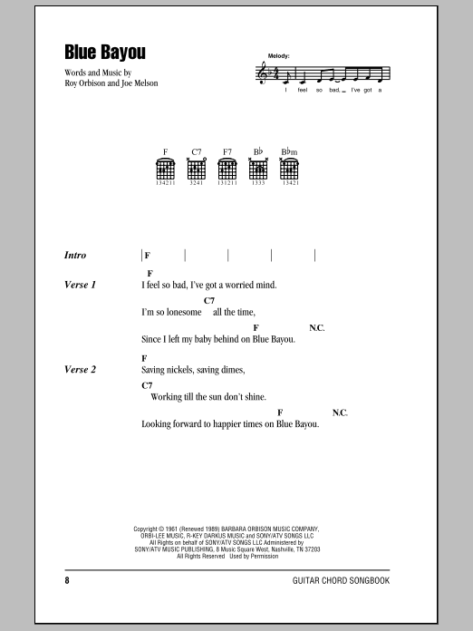Roy Orbison Blue Bayou sheet music preview music notes and score for Lyrics & Piano Chords including 2 page(s)