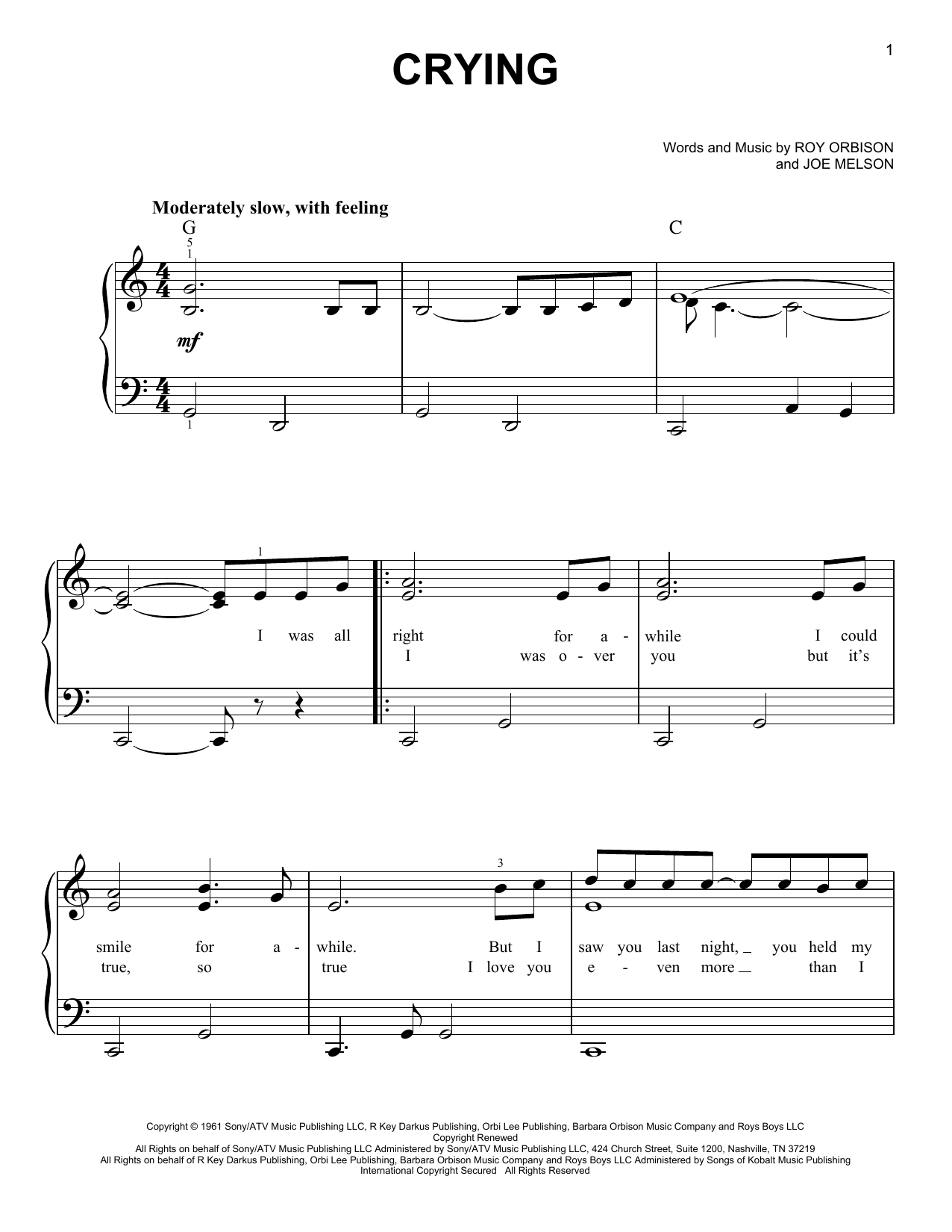 Roy Orbison Crying sheet music preview music notes and score for Lyrics & Piano Chords including 2 page(s)