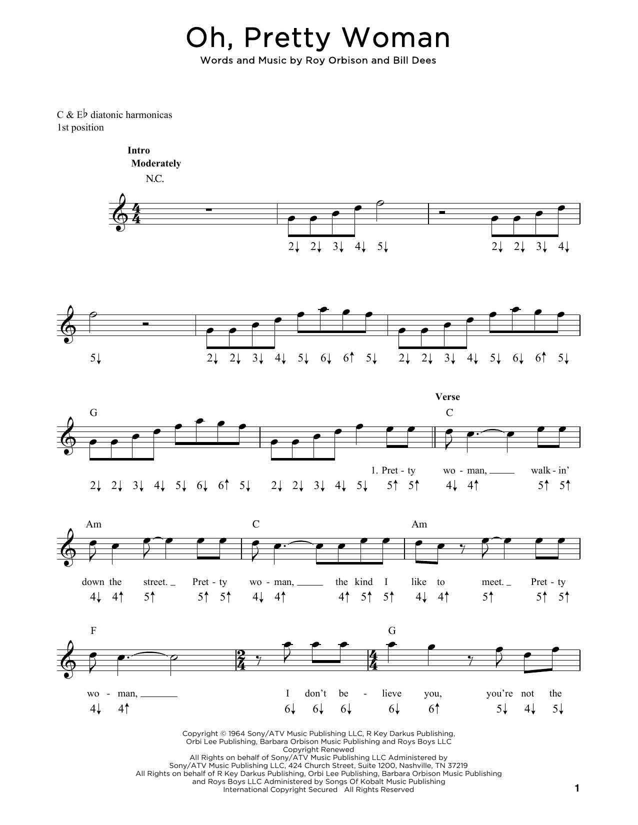 Roy Orbison Oh, Pretty Woman sheet music notes and chords